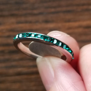 Vintage Sterling Emerald CZ Eternity Band Ring